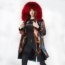 Loose Fit Split Pattern Print Fur Jacket