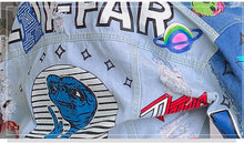 Denim jacket cartoon graffiti women chic