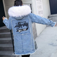 Warm denim jacket woman