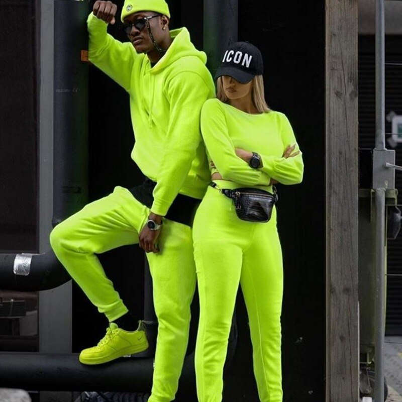 Neon Male Solid 2 Pieces Sets Tracksuit Men