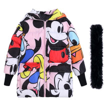 women winter thick hooded coats cartoon print fur collar long Parkas