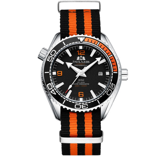 Men Automatic Self Wind Mechanical Orange Black Blue Red Gray Canvas Strap James Bond 007 Style Luxury Watch