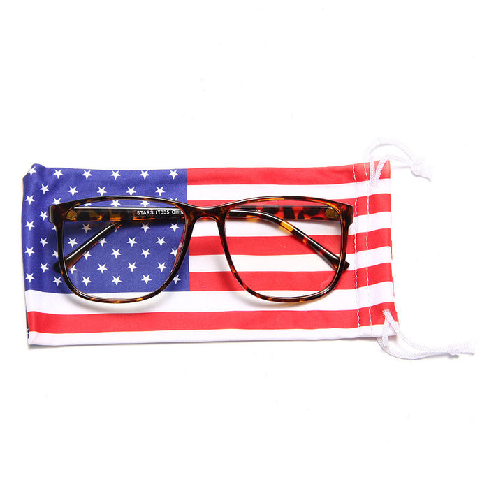 Soft Drawstring American Flag Sunglasses Case