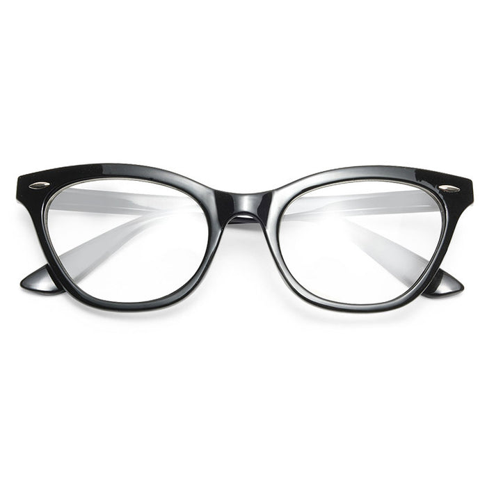 Emma Solid Frame Clear Cat Eye Glasses