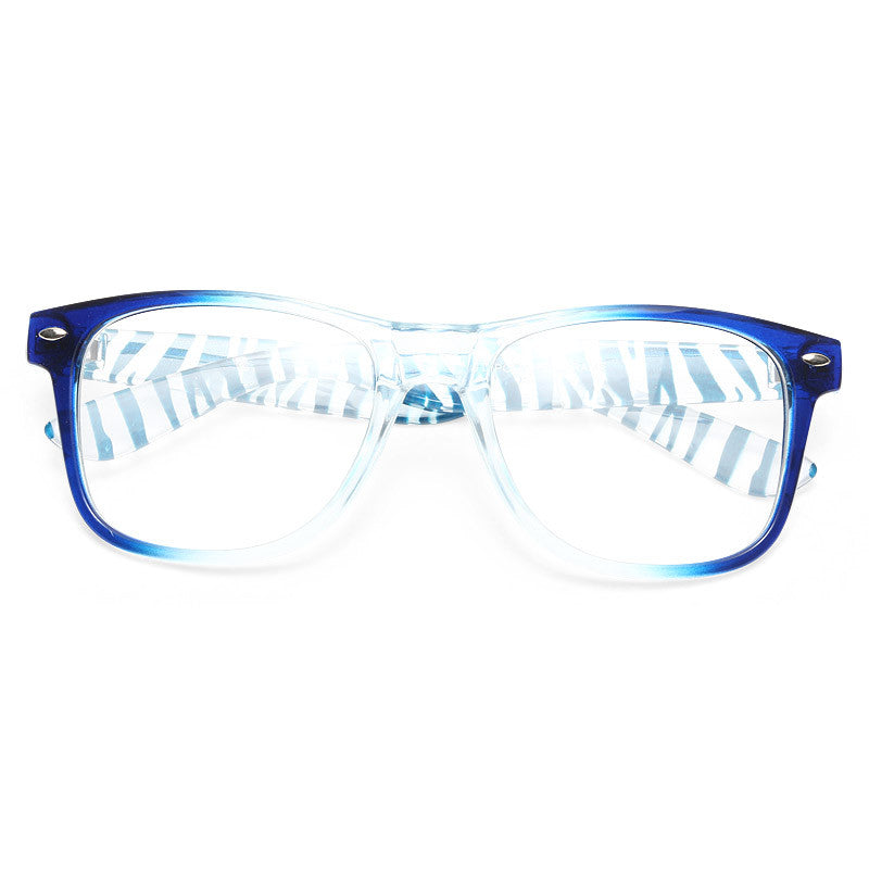 Jude Large Transparent Zebra Clear Horn Rimmed Glasses