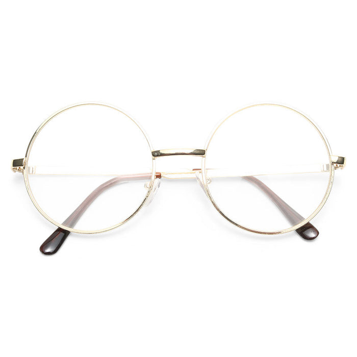 Lennon 4 Metal Round Clear Glasses