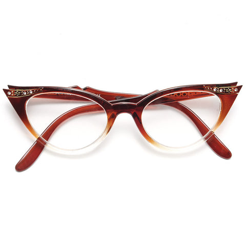 eefe41210d Betty Jo Rhinestone Gradient Cat Eye Clear Glasses