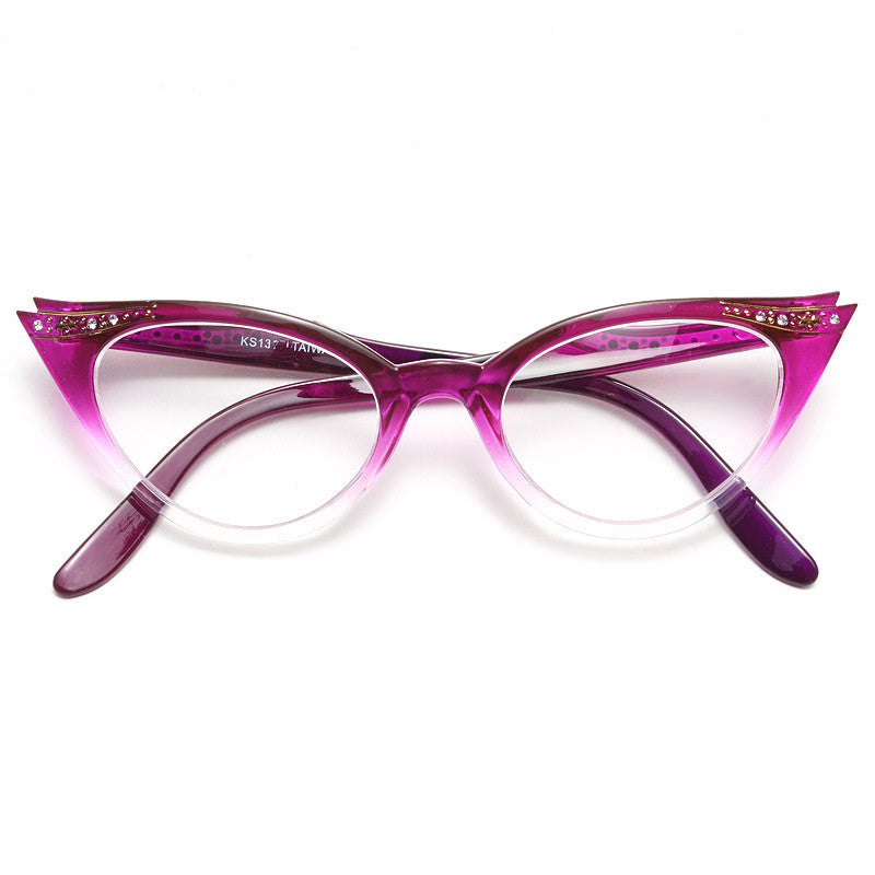 Betty Jo Rhinestone Gradient Cat Eye Clear Glasses