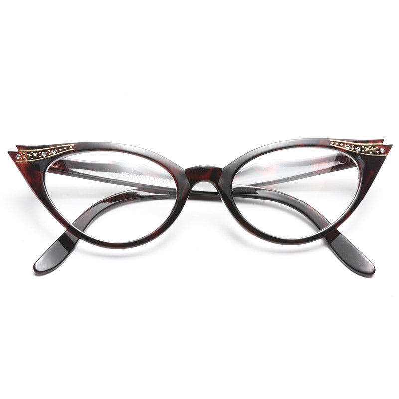 a84e3b30c1 Clear Cat Eye Glasses - Betty Jo Rhinestone Cat Eye Clear Glasses ...