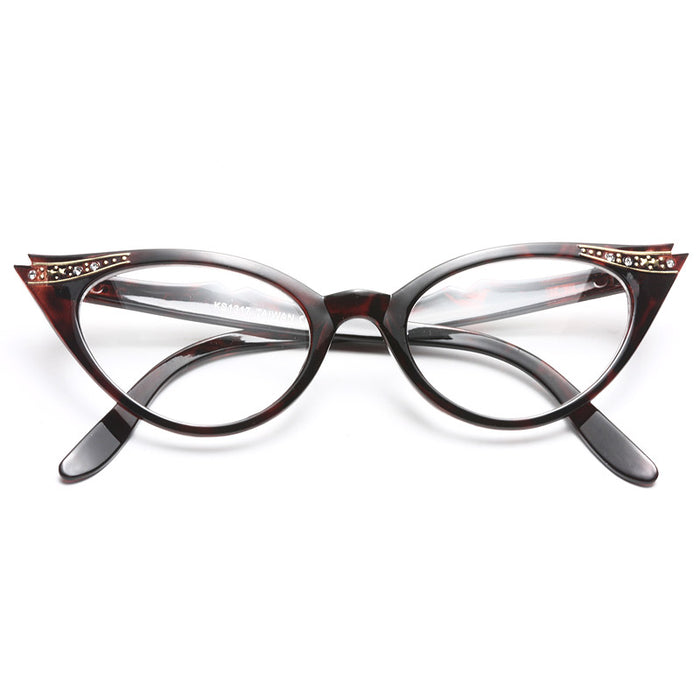 Betty Jo Rhinestone Cat Eye Clear Glasses