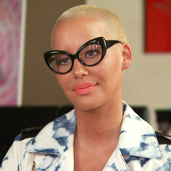 Amber Rose Style Rounded Cat Eye Clear Glasses