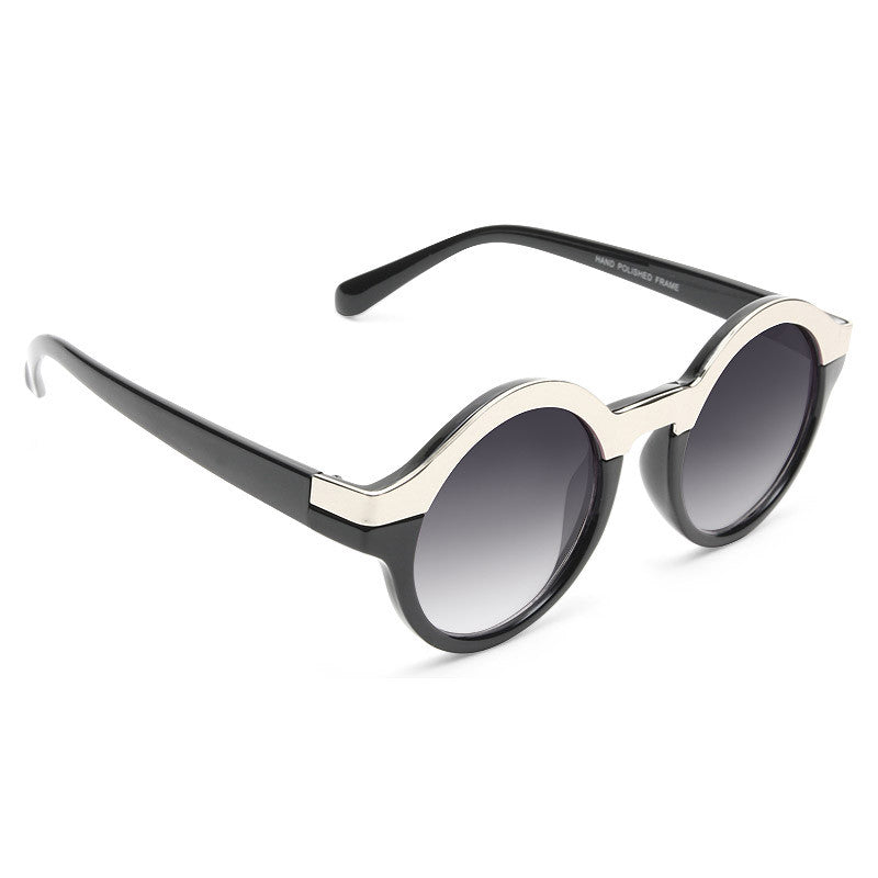Miley Cyrus Style Round Metal Accent Sunglasses