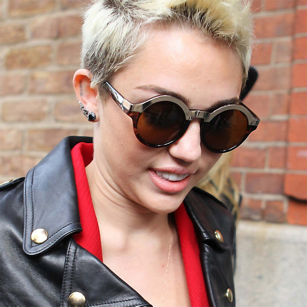 Miley Cyrus Style Round Metal Accent Celebrity Sunglasses