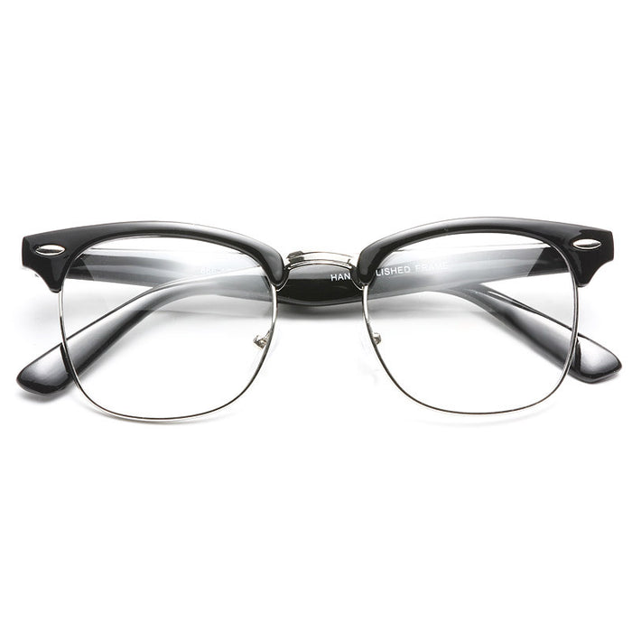 Peyton Unisex Metal Clear Half-Frame Glasses