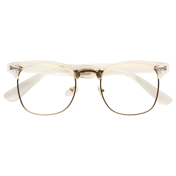 Peyton Unisex Metal Clear Frame Clear Half-Frame Glasses