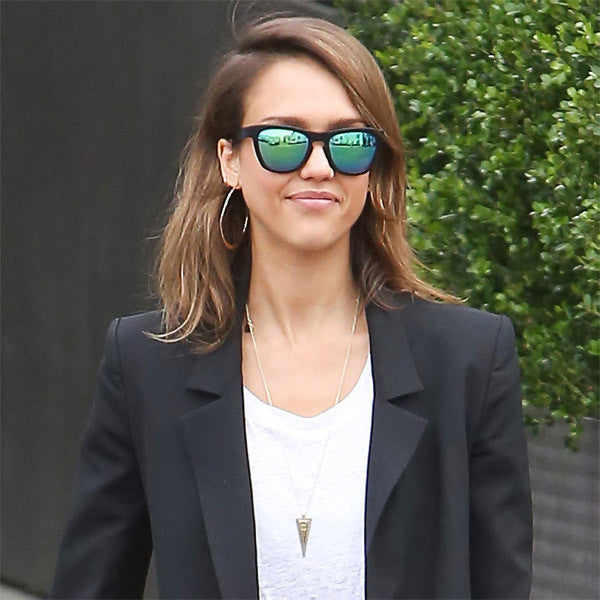Jessica Alba Style Unisex Mirror Horn Rimmed Celebrity Sunglasses