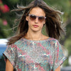 Alessandra Ambrosio Style Unisex Rounded Notch Bridge Celebrity Sunglasses