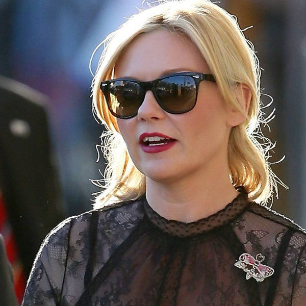 Kirsten Dunst Style X Large Gradient Lens Horn Rimmed Sunglasses