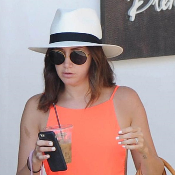 Ashley Tisdale Style Thick Round Metallic Celebrity Sunglasses