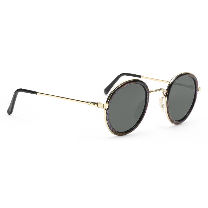 Miley Vintage Thick Round Metallic Sunglasses