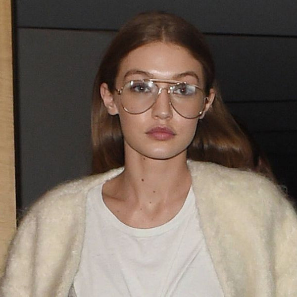 Gigi Hadid Style 58mm Aviator Celebrity Clear Glasses