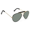 Vintage Outdoorsman Classic 58Mm Leather Trim Aviator Sunglasses