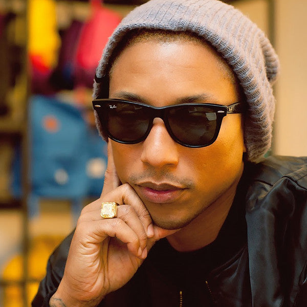 Pharrell Style Medium Solid Horn Rimmed Sunglasses