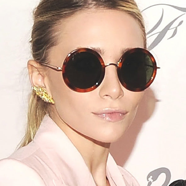 Ashley Olsen Style Oversized Thick Round Celebrity Sunglasses