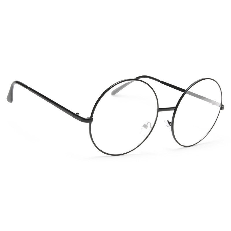 Lennon 5 Oversized Metal Round Clear Glasses