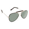 Vintage Classic 56Mm Leather Trim Aviator Sunglasses