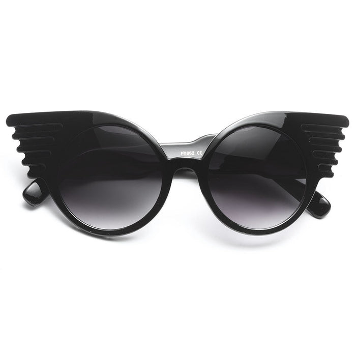 Zola Designer Inspired Oversized Mod Winged Sunglasses