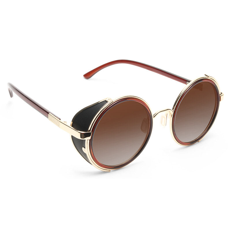 Lady Gaga Style Retro Round Side Cover Celebrity Sunglasses