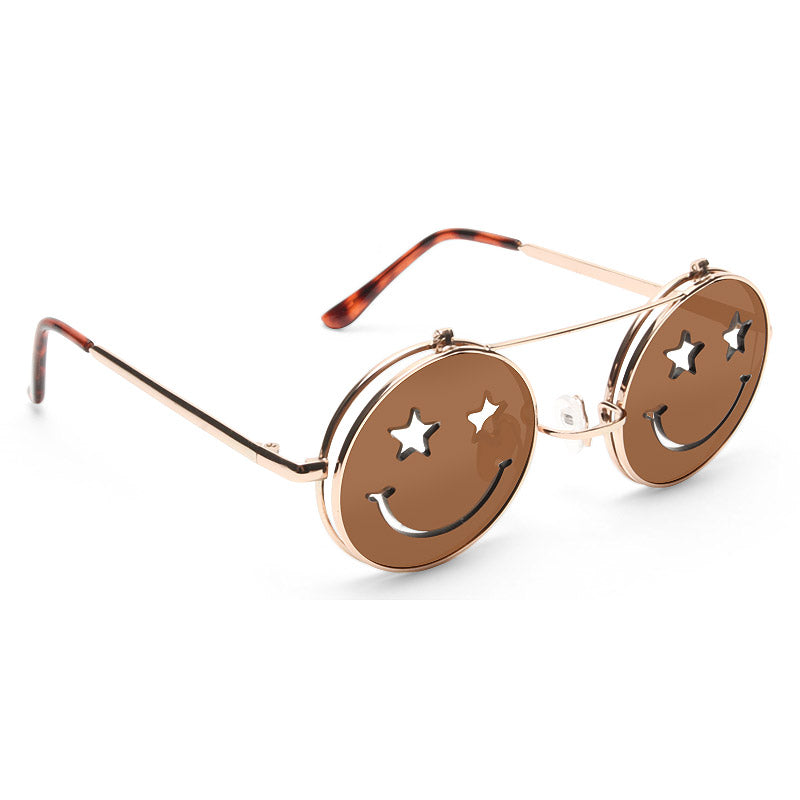 Smiley Unisex Flip-Up Round Sunglasses