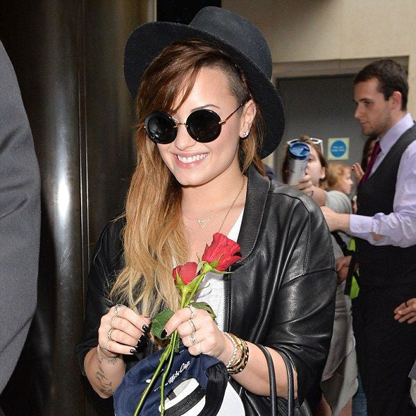 Demi Lovato Style Thick Frame Round Celebrity Sunglasses