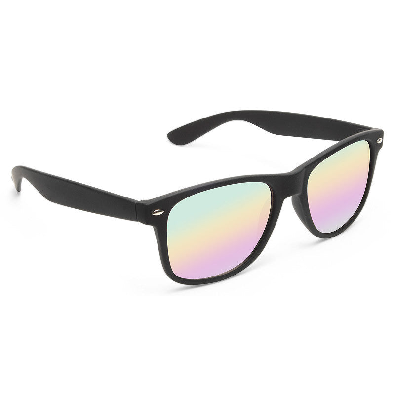 Jude Large Rainbow Mirror Rubber Horn Rimmed Sunglasses