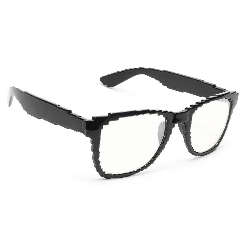 Matrix Pixelated Clear Horn Rimmed Glasses