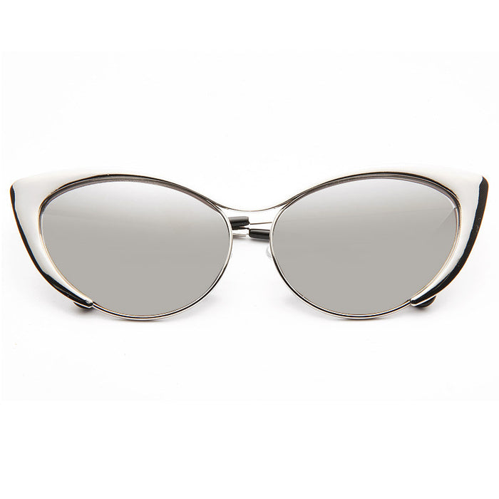 Nastasya Designer Inspired Cat Eye Mirror Sunglasses