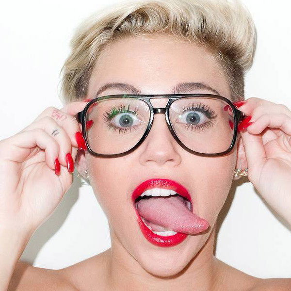 Miley Cyrus Style Plastic Flat Top Aviator Celebrity Clear Glasses
