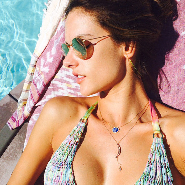 Alessandra Ambrosio Style Metal Rounded Color Mirror Celebrity Sunglasses