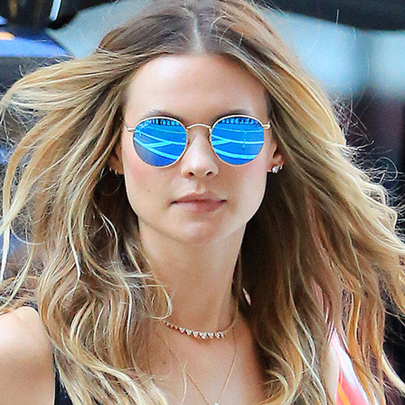 Behati Prinsloo Style Rounded Color Mirror Celebrity Sunglasses