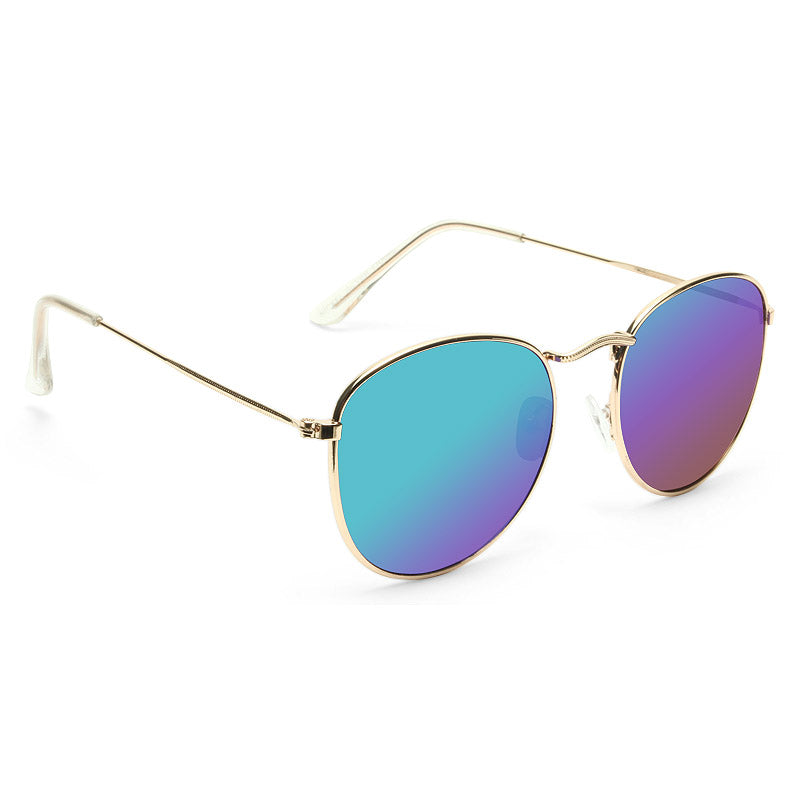 Alessandra Ambrosio Style Metal Rounded Color Mirror Sunglasses
