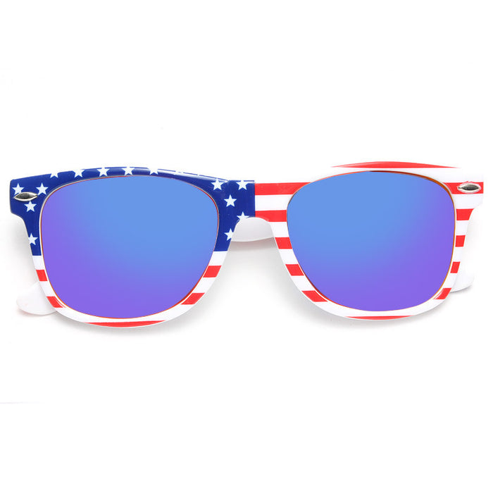 Glory American Flag Color Mirror Horn Rimmed Sunglasses