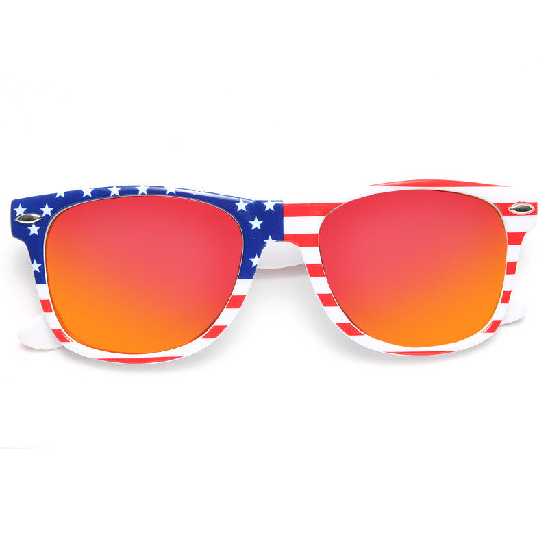 Shep Rose Style Flag Color Mirror Horn Rimmed Celebrity Sunglasses
