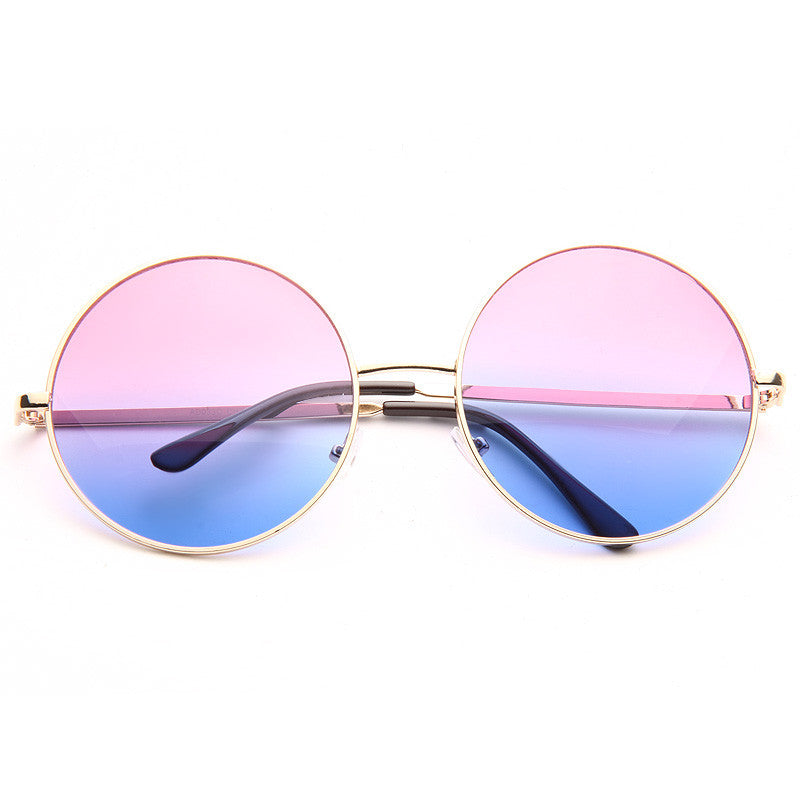 Paris Jackson Style Oversized Metal Round Split Tint Sunglasses