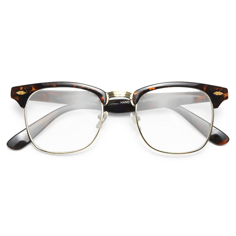 Coventry Unisex Metal Clear Clubmaster Glasses