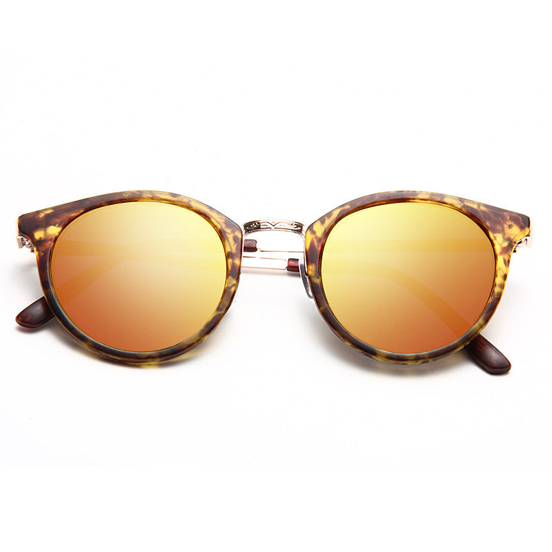 Ferrara Round Color Mirror Half-Frame Sunglasses