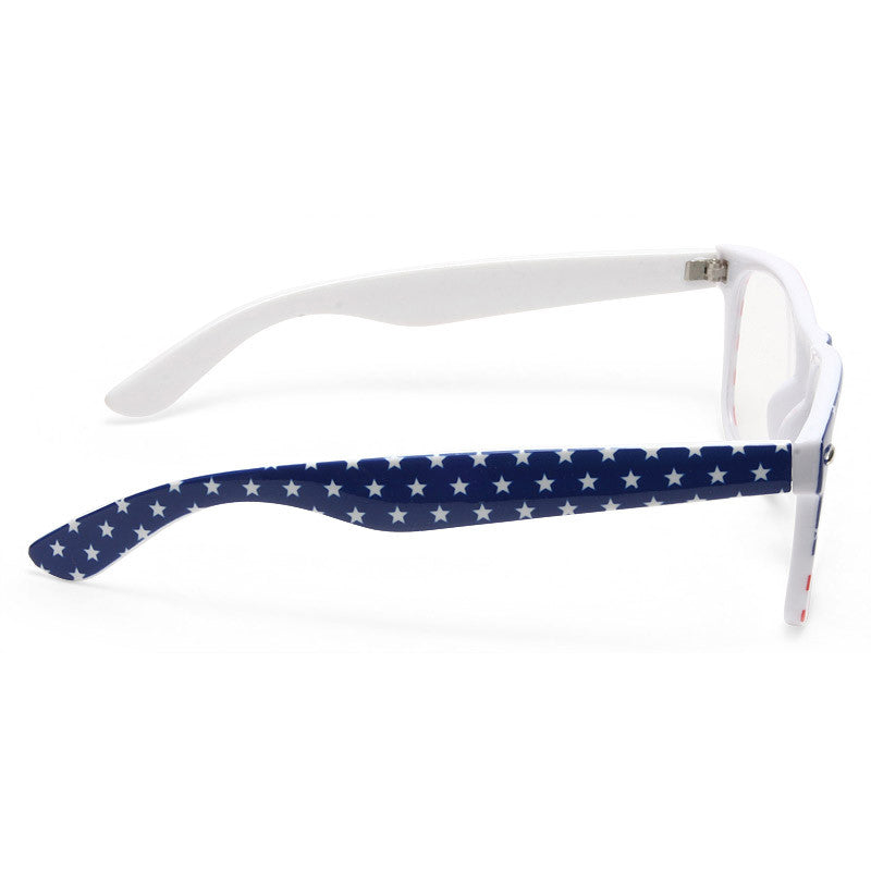 Glory American Flag Clear Frame Clear Horn Rimmed Glasses