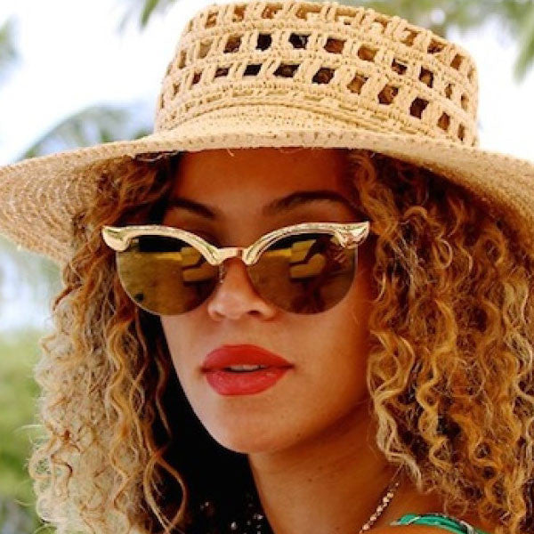 Beyonce Style Metal Eyebrow Cat Eye Mirror Celebrity Sunglasses