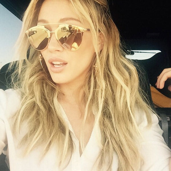 Hilary Duff Style Thin Bar Flat Top Celebrity Sunglasses