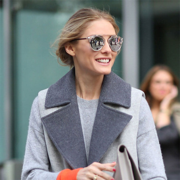 Olivia Palermo Style Thin Bar Flat Top Sunglasses